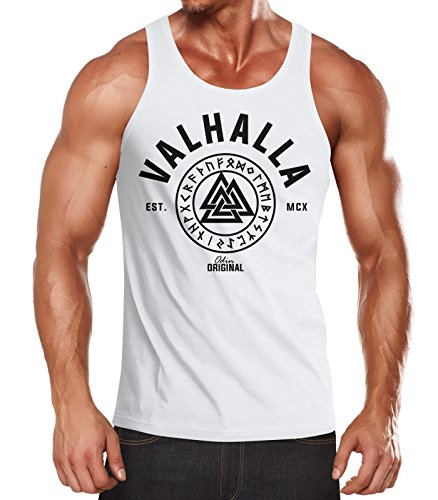 Neverless Herren Tank-Top Valhalla Runen Vikings Wikinger Muscle Shirt weiß L von Neverless