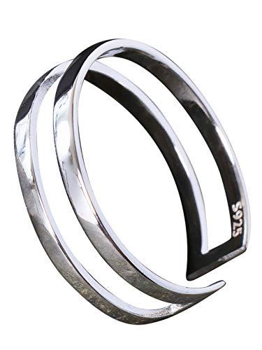 Silberring Schlicht Glatt Durchbrochen Linie Ring Silber 925 Verstellbar Offen