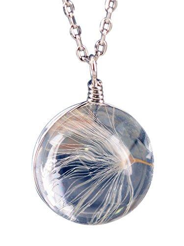 30b4ee6c7028 NicoWerk Silberkette mit Anhänger Pusteblume Echt Löwenzahn Glaskugel Halskette  Damen 925 Silber Kette Schmuck Sterling SKE258