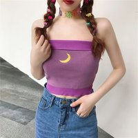 Contrast Trim Moon Embroidered Tube Top von OGAWA