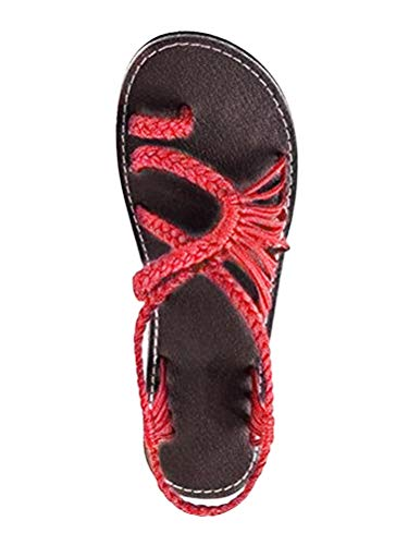 Zehentrenner Flip Schuhe Rot EU Casual Flachen Sandalen Damen Flops 40 Geflochtene Sandalen Sommer Gladiator Strand ORANDESIGNE f8UWFaP4x
