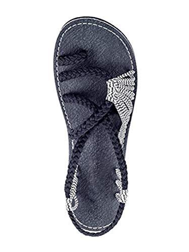 Casual Strand Sandalen Zehentrenner Wei Flachen Gladiator Schwarz ORANDESIGNE Flops Sommer Schuhe 42 Damen EU Sandalen Geflochtene Flip HgPHqxvY