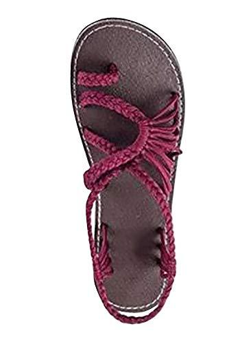 EU Sandalen Sandalen Geflochtene Strand Flops Casual Flip Sommer Zehentrenner 39 Weinrot ORANDESIGNE Damen Flachen Gladiator Schuhe Fwpq67q