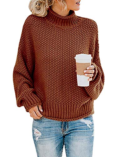 Onsoyours Damen Strickpullover Casual Herbst Winter Sweater Langarm Lose Pulli Jumper Sweatshirt Strickpulli Pullover Rollkragenpullover Streifenpullover A Braun 34 von Onsoyours