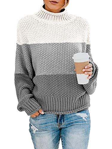 Onsoyours Damen Strickpullover Casual Herbst Winter Sweater Langarm Lose Pulli Jumper Sweatshirt Strickpulli Pullover Rollkragenpullover Streifenpullover D Grau 34 von Onsoyours