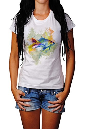 Fisch Damen T- Shirt , Stylisch aus Paul Sinus Aquarell Color von Paul Sinus Art