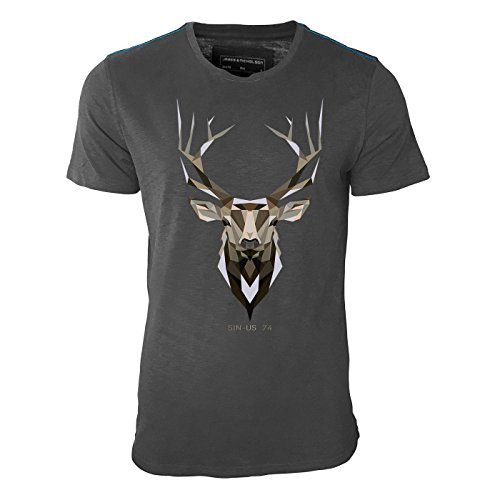 SINUS 74 DESIGN -Hirsch Geweih Erdfarben – Herren Shirt in Graphite mit blauer Schulternaht - James & Nicholson Premium Shirt – Design Paul Sinus von Paul Sinus Art