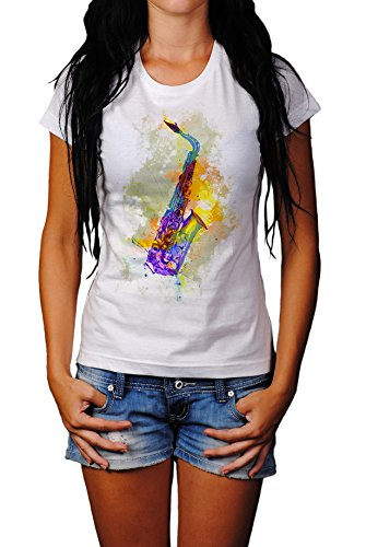 Saxophon Damen T- Shirt , Stylisch aus Paul Sinus Aquarell Color von Paul Sinus Art