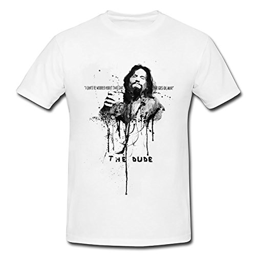 Paul Sinus Art The-Big-Lebowski T-Shirt Herren, weiß mit Aufdruck von Paul Sinus Art