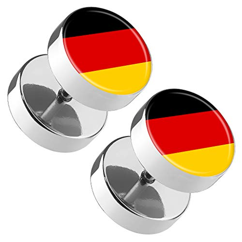 Piercingfaktor Runde Ohrringe Ohrstecker Fake Piercing Ohr Plug Flesh Tunnel Platte Stecker Fussball EM & WM Länder Flagge Fanartikel Deutschland von Piercingfaktor