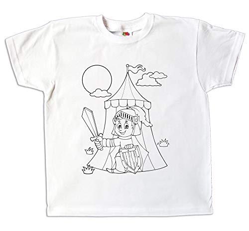 04c00bfabac58 Kinder T-Shirt Ritter zum bemalen und ausmalen mit Vordruck Spiel kreatives  Geschenk für Jungen
