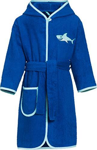 0b28ced723 Playshoes Jungen Kinder Frottee Hai mit Kapuze Bademantel, Blau 7, 110  (Herstellergröße: