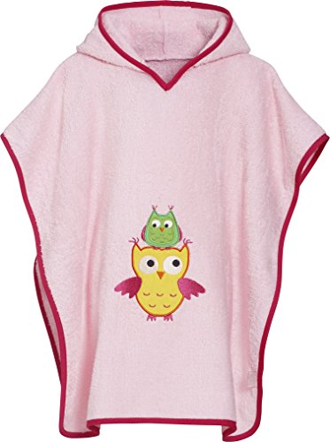 Playshoes Mädchen Frottee-Poncho Eule Bademantel, rosa, L von Playshoes