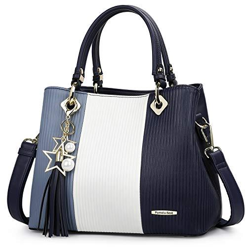 3d0ef9d508d9f Pomelo Best Damen Handtasche Mehrfarbig gestreift Umhängetasche Shopper  Tote Henkeltasche (Marineblau) von Pomelo Best