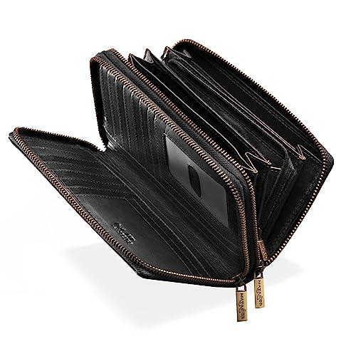 223cea4af7db52 MATADOR Damen/Frauen Geldbörse RFID Schutz Portemonnaie Rinds Leder  Geldtasche mit Doppelter Metall Reißverschluss viele