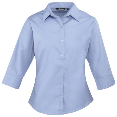 Premier Workwear Damen Bluse Ladies Poplin Blouse 3/4 Sleeved, Blau (Mid Blue), 44 (Herstellergröße: 16) von Premier Workwear