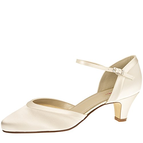 Letty 37 e 4 5 Ivory Creme Club Riemchen Gr 5 Rainbow UK Pumps Brautschuhe Satin vEzH4q