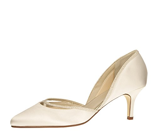 Rainbow Club Brautschuhe Teddie - Pumps Ivory Glitzer Satin - Damen - Gr 41 EU 8 UK von Rainbow Club