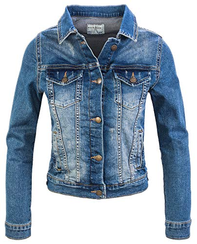 Rock Creek Damen Jeans Jacke Übergangs Jacke Denim Blouson Stretch Kurz Classic Jeansjacken Urban Stonewash D-401 Blau XS von Rock Creek