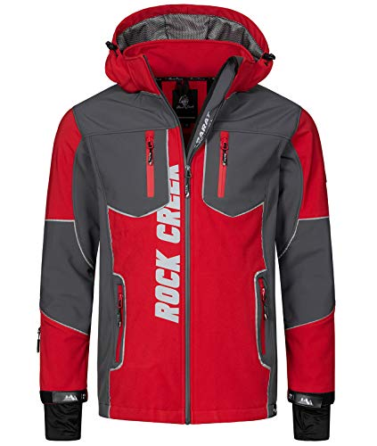 Rock Creek Herren Softshell Jacke Outdoor Jacke Windbreaker Übergangsjacke Anorak Kapuze Regenjacke Winterjacke Herrenjacke Jacket H-237 Rot 3XL von Rock Creek