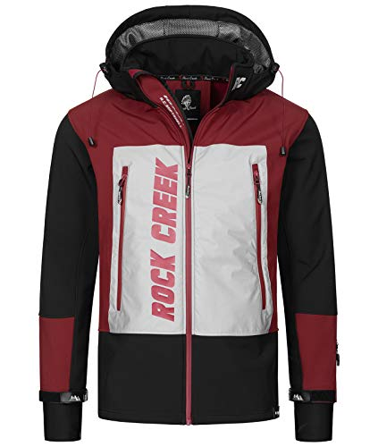 Rock Creek Herren Softshell Jacke Outdoor Jacke Windbreaker Übergangsjacke Anorak Kapuze Regenjacke Winterjacke Herrenjacke Jacket H-238 Schwarz 2XL von Rock Creek