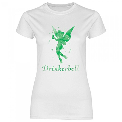 Royal Shirt a62 Damen T-Shirt Drinkerbell | Party JGA Alkohol Drinks Girly Disko Feiern, Größe:M, Farbe:White von Royal Shirt