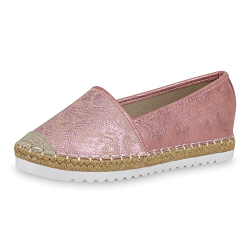 163790 Flats Schuhe SCARPE Bast Metallic Profilsohle Metallic Damen Slipper 37 Espadrilles VITA Pink BwC16nqz