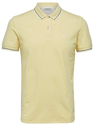 SELECTED HOMME Herren SLHNEWSEASON SS Polo W NOOS Poloshirt, Gelb (Mellow Yellow), Small von SELECTED HOMME