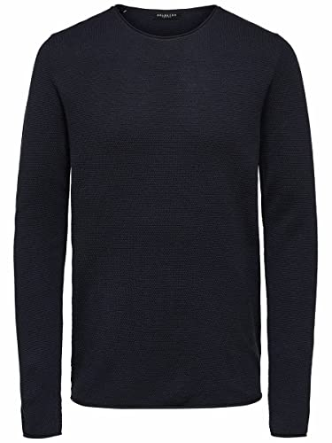 SELECTED HOMME Herren Pullover SLHROCKY Crew Neck B NOOS, Blau (Dark Sapphire), Small von SELECTED HOMME
