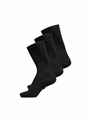 SELECTED HOMME Herren Shdpete 3-Pack Cotton Rib Sock Noos, 3, Schwarz (Black), One size von SELECTED HOMME