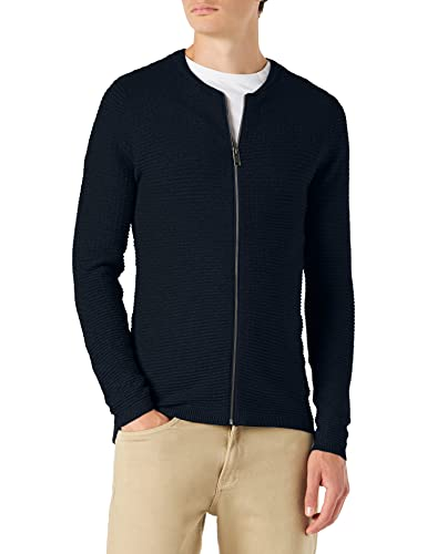 SELECTED HOMME Herren SHHNEWDEAN Zip Cardigan STS Strickjacke, Blau (Dark Sapphire), Medium von SELECTED HOMME