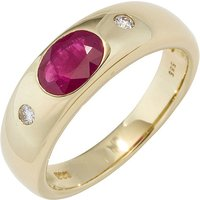 SIGO Damen Ring 585 Gold Gelbgold 1 Rubin rot 2 Diamanten Brillanten Goldring von SIGO