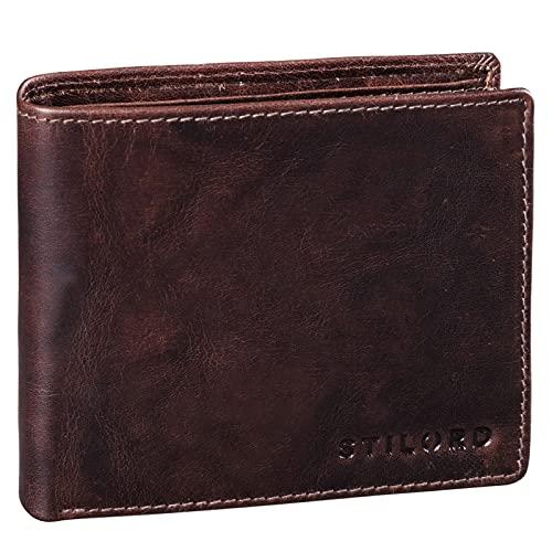 Farbe:anthrazit STILORD Marquesa Leder Geldb/örse Damen RFID Schutz NFC Portmonnaie Damen Vintage Geldbeutel Gro/ß Quer mit Ausleseschutz in Geschenkbox Echtleder