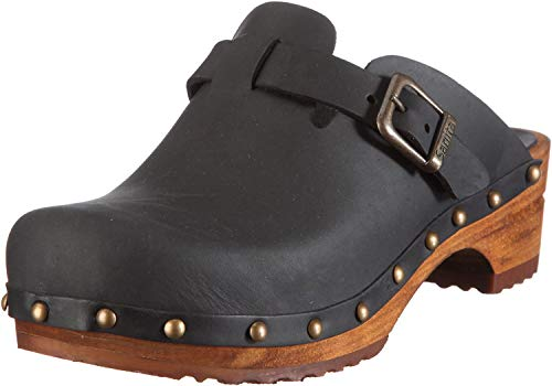 Damen Black open Kristel Schwarz Clogs 41 2 Sanita qCaXEw