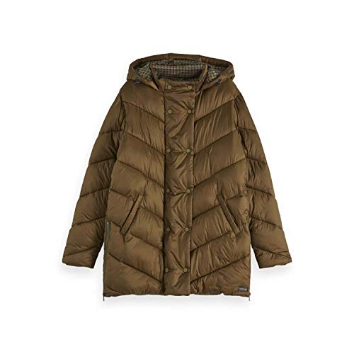 Scotch & Soda Maison Damen Longer Length Quilted Jacket with Double Breasted Closure Jacke, Grün (Military 0360), Medium (Herstellergröße: M) von Scotch & Soda
