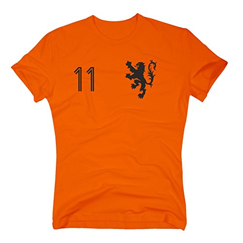 Shirt Department - HOLLAND Trikot - Herren T-Shirt - mit Wunschnummer - Nederland Niederlande, M, orange von Shirtdepartment