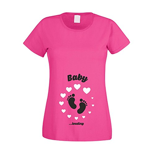 Shirt Department - Damen T-Shirt - Baby Loading Fuchsia-schwarz L von Shirtdepartment