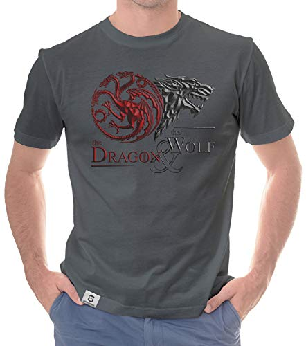 Shirtdepartment - Game of Thrones - Herren T-Shirt - Dragon & Wolf Wappen dunkelgrau-dunkelrot XXL von Shirtdepartment
