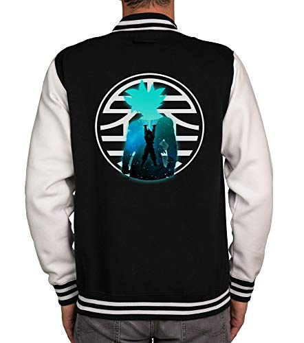 Shirtdepartment - Herren College Jacke - Goku Genkidama schwarz-Weiss M von Shirtdepartment