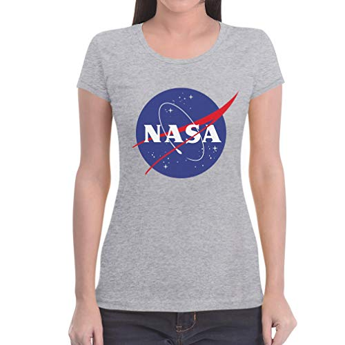 NASA Space Raumfahrt Damen Outfit Damen T-Shirt Slim Fit Medium Grau von Shirtgeil