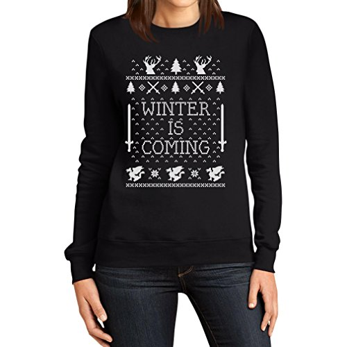 Winter is Coming Pullover Damen Schwarz Medium Sweatshirt - Motiv für Weihnachten von Shirtgeil