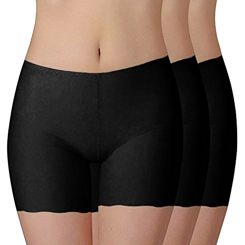 Shujin Damen 3er Pack Sommer Retroshorts Weich Panties Boyshort Sicherheits Shorts Elasthan Kurz Leggings Tanz Unterrock Kleid Rock, Schwarz+schwarz+schwarz, S von Shujin