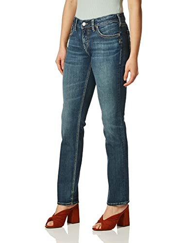 Silver Jeans Co. Damen Suki Curvy Fit Mid Rise Straight Leg Jeans, Mittlere Sandstrahlung, 26W x 30L von Silver Jeans