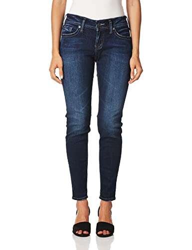 Silver Jeans Co. Damen Suki Curvy Fit Mid Rise Super Skinny Jeans, Dunkle Sandstrahlung, 28W x 29L von Silver Jeans