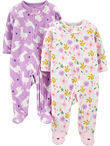 2er-Pack Simple Joys by Carters 2-Pack Fleece Footed Sleep Play Infant-and-Toddler-Bodysuit-Footies Little Sister//Pink Pandas 0-3 Months