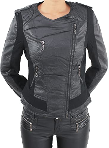 Damen Jeans Leder Optick Kunstlederjacke Übergangs Jacket Bikerjacke Blazer