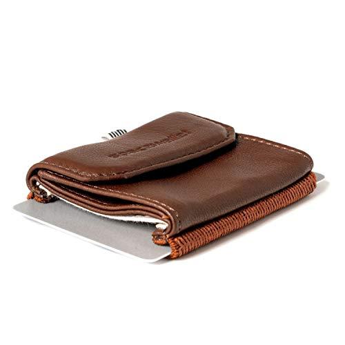 74111f3d2faec7 Space Wallet Push I Mini Portemonnaie für Damen & Herren I Kleine Echtleder  Geldbörse I Geldbeutel