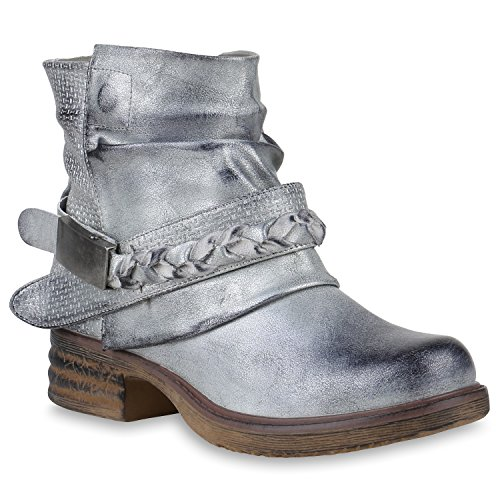 36 Schnallen Biker Schuhe Flandell Boots Stiefelparadies 147510 Metallic Damen Stiefeletten Silber zHqzAF
