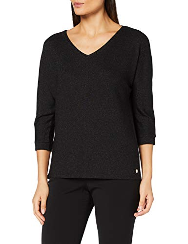 Street One Damen Fledermaus-Shirt mit Glitzer Black 36 von Street One