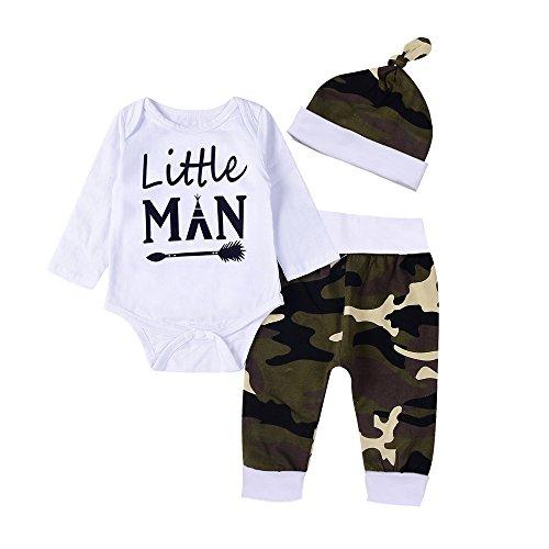 Baby Junge Bekleidungssets TTLOVE Neugeborenes Baby Boy Brief Strampler Tops Mit Kapuze Camouflage Hosen H/üte 2pcs Outfits Set